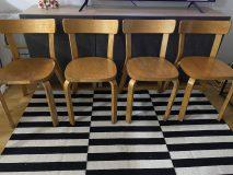 4kpl vanhaa Alvar Aalto 69 tuolia